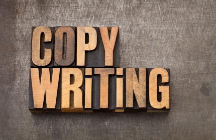 copywriting word in wood type